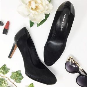 FRANCO SARTO black suede pumps round toe leather